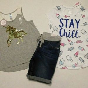 NWT 14pc Justice Old Navy Levi's Tops Shorts
